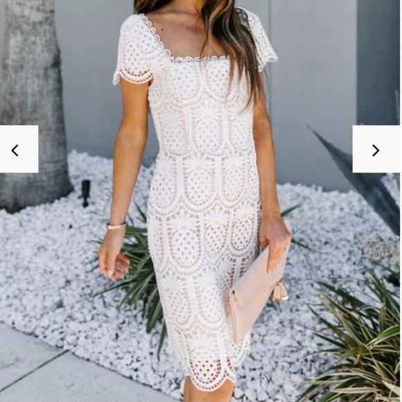 White Pineapple Lace Midi Dress - Small